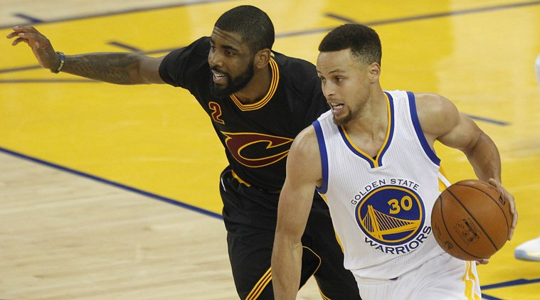 June 19, 2016; Oakland, CA, USA; Golden State Warriors guard Stephen Curry (30) moves the ball against Cleveland Cavaliers guard Kyrie Irving (2) in the first half in game seven of the NBA Finals at Oracle Arena. Mandatory Credit: Cary Edmondson-USA TODAY Sports